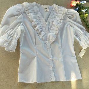 Vintage Lace Shirt Top M White Victorian Pearlette